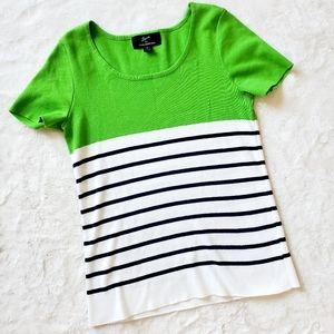 NINA LEONARD nautical lime green top